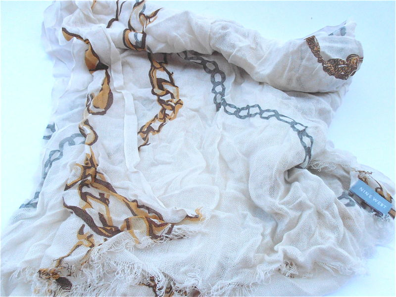 Chain Link Print Scarf Style Ivory Gold Gray Rectangular Extra Long Scarf Nine West Raw Edge Tiny Fringe Rectangle Designer Look Style  - product images  of