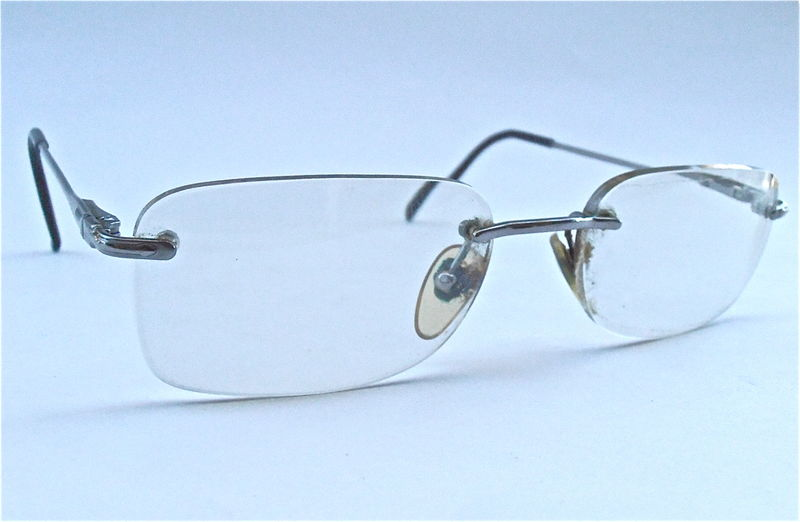 Vintage Persol Rimless Eyeglass Rectangular Italian Glasses Prescription Eyewear Silver Italian Frame Rectangle 2106 – V Designer Signature - product images  of