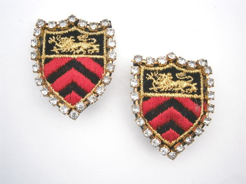 Vintage,Military,Emblem,Earrings,Statement,Lion,Crest,Coat,Of,Arms,Red,Black,Gold,Embroidery,Applique,Badge,Rhinestones,Chevron,Arrows,vintage 80s red black military earrings, black badge earrings, gold lion earrings, coat of arms earrings, red crest lion earrings, gold crest earrings, red black chevron earrings, black gold emblem earrings, gold lion applique, emblem rhinestone earrings