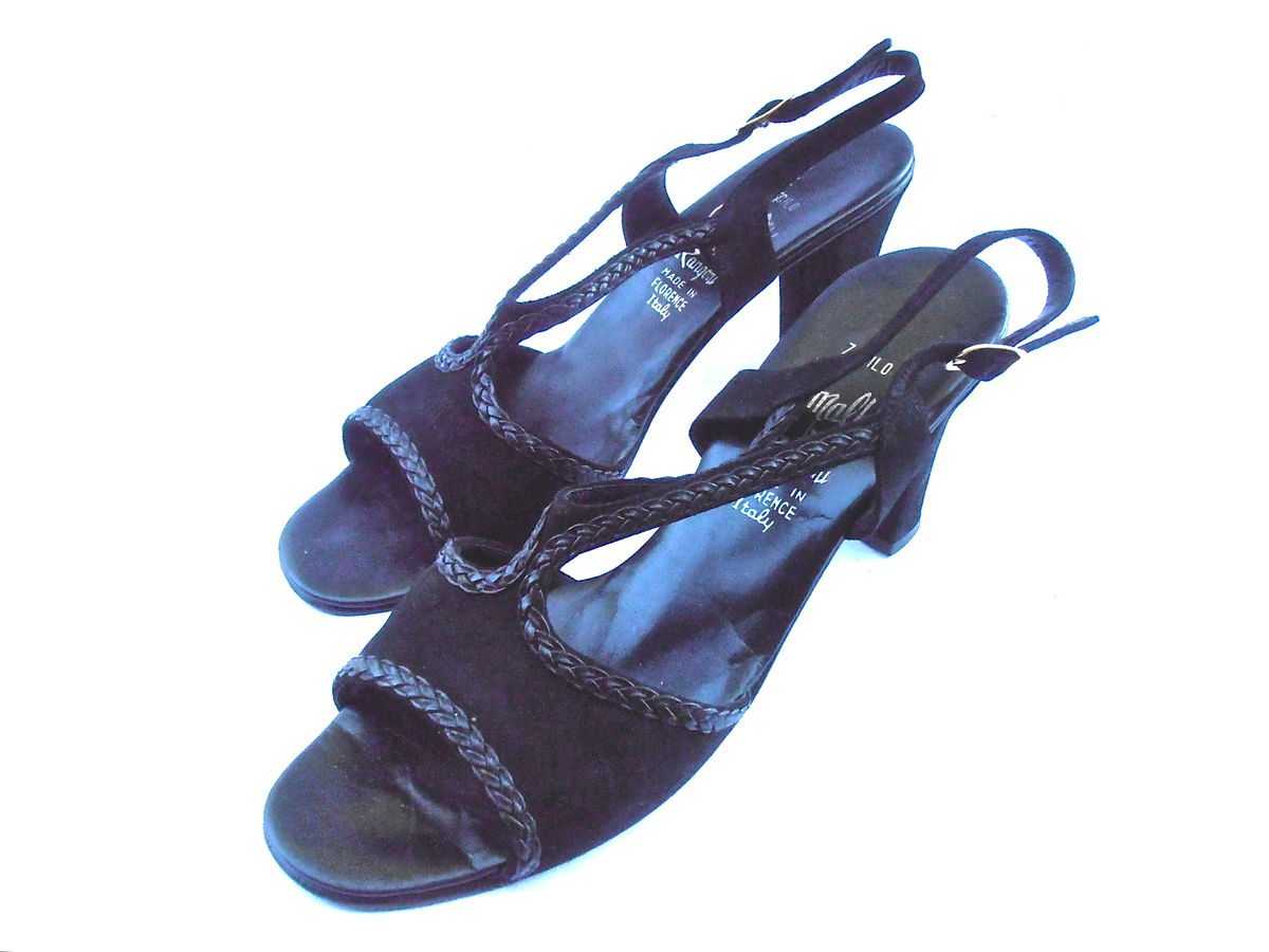 d043662a26b64 Vintage Black Suede Shoe Chunky Heel Amalfi Rangoni Italian Leather ...