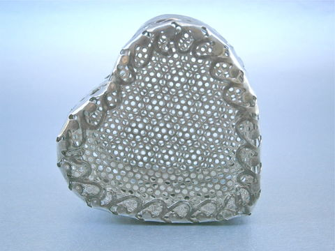Vintage,Filigree,Heart,Shape,Box,Trinket,Souvenir,Silver,Tone,Ornate,Keepsake,Treasure,Perforated,Peek,A,Boo,See,Through,Case,Bridal,Bride,vintage filigree heart shape trinket box, vintage heart souvenir box case, vintage perforated silver tone metal heart treasure box, vintage heart ornate decorative box, vintage heart keepsake box, vintage peek a boo heart bridal box, heart bride box