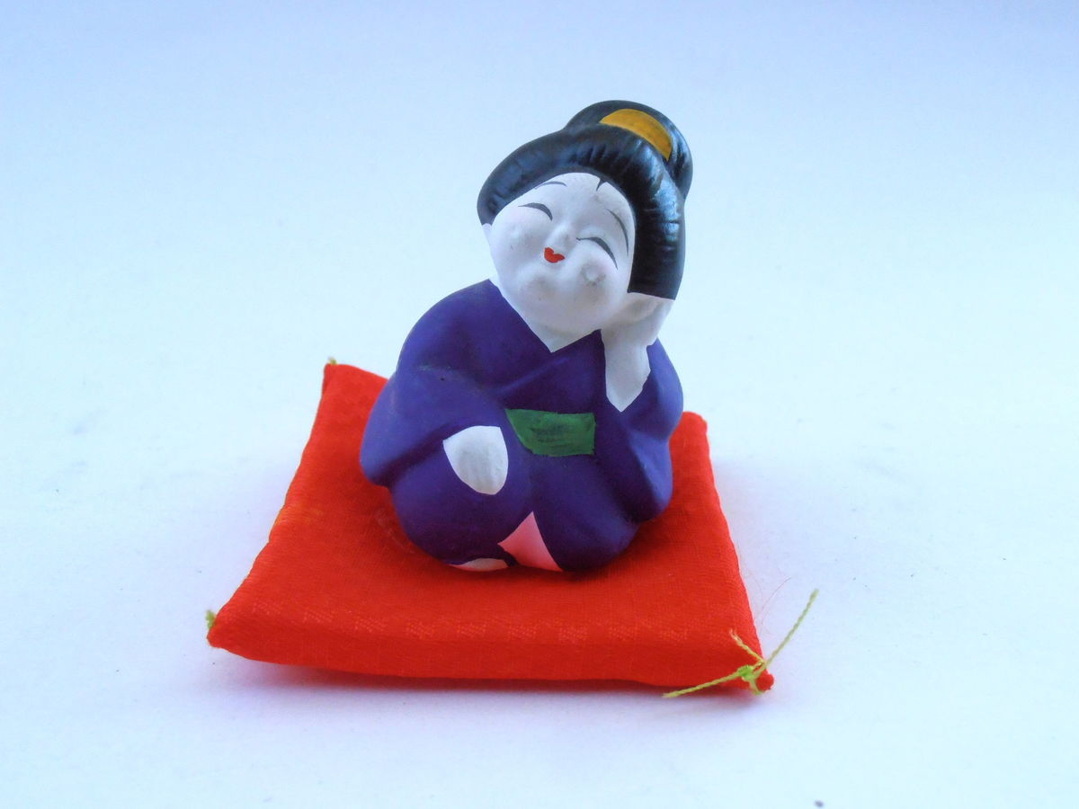 Vintage Japanese Hakata Bisque Doll Geisha Kawaii Ningyō Ceramic Clay Miniature Figurine Purple Kimono Red Satin Mini Pillow Cushion Maiko - product images  of