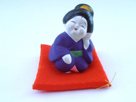 Vintage,Japanese,Hakata,Bisque,Doll,Geisha,Kawaii,Ningyō,Ceramic,Clay,Miniature,Figurine,Purple,Kimono,Red,Satin,Mini,Pillow,Cushion,Maiko,vintage hakata japanese doll, vintage japanese bisque doll, vintage hakata ningyō doll, vintage japanese kimono ceramic clay doll, vintage apanese mini miniature kawaii doll, purple traditional kimono doll, miniature red pillow, japanese paint bisque doll