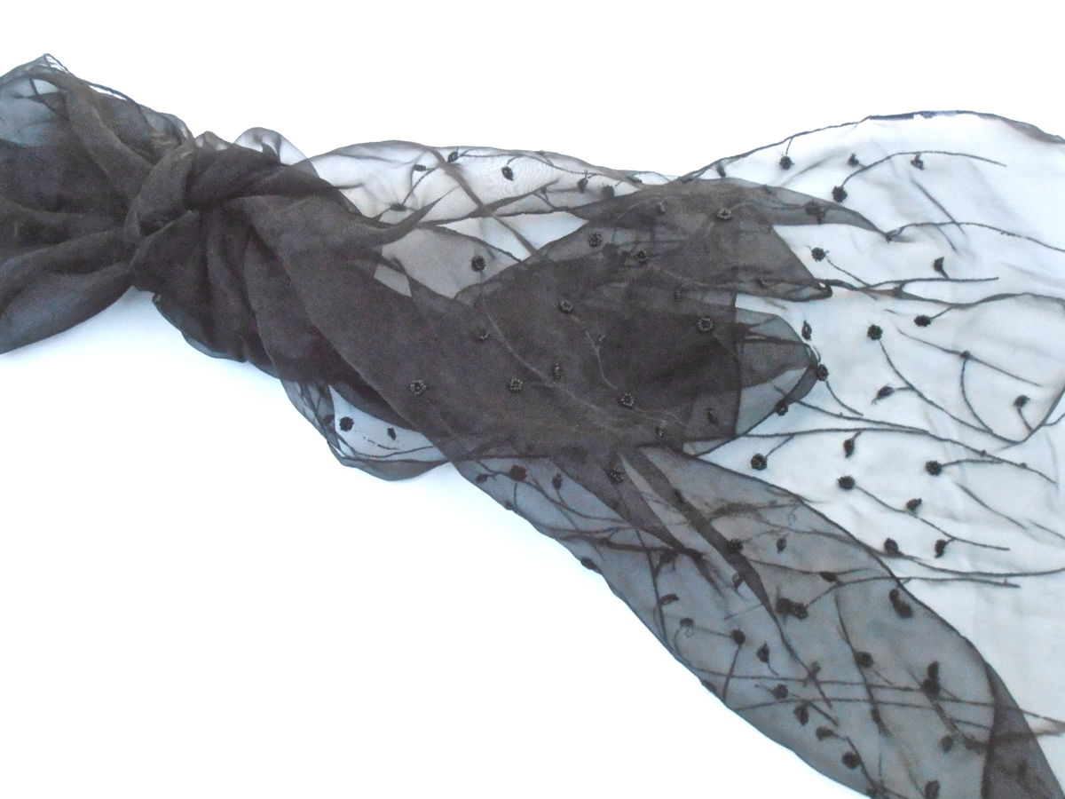 Vintage See Through Beaded Black Long Scarf Chiffon Shawl Organza Wrap Embroidered Fabric Transparent Tall Ornamental Grass Embroidery - product images  of