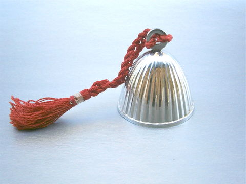 Vintage,Shiny,Silver,Tone,Bell,Handheld,Textured,Groove,Chrome,Plated,Red,Hanging,Twisted,Cord,Tie,Fringes,Tassels,Decorative,Ornamental,vintage shiny silver hand bell, vintage chrome plated handheld bell, vintage silver tone textured bell, vintage chrome textured groove bell, red hanging twisted cord bell, vintage red twisted rope, red fringes tassels, decorative ornamental silver bell
