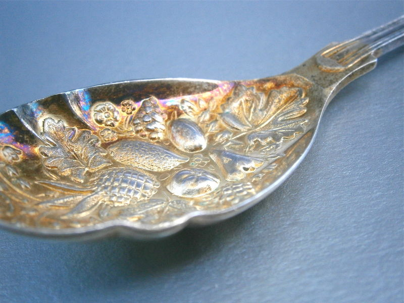 Vintage Pineapple Berry Spoon Serving Silver Plated Tableware Sheffield England Fruit Jam Jelly Preserve Embossed Hallmark Two Tone Gold  - product images  of