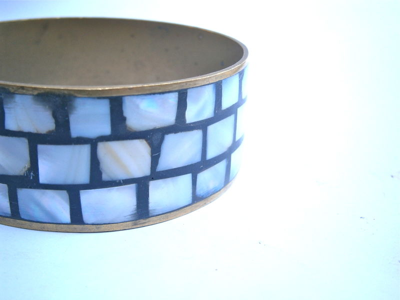 Vintage Mosaic Inlay Brass Bangle Mother Of Pearl MOP Bracelet Three Rows Inlaid Boho Hippie Luminescent Pearlized Cuff Villa Collezione - product images  of