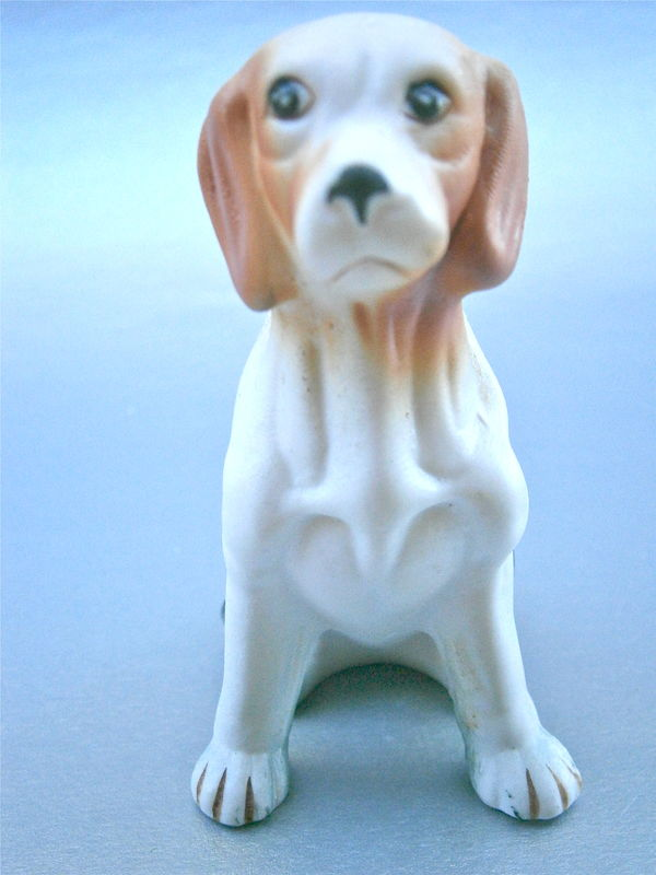 Vintage Labrador Figurine Retriever Dog Pet Statue Caramel Ears Dark Olive Green Unglaze Pottery Ceramic Clay Adorable Man Best Friend Paint - product images  of
