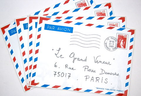 Vintage,French,Place,Mats,Airmail,Par,Avion,Paris,Fine,Dining,Restaurants,Le,Grand,Veneur,Grande,Cascade,Bois,De,Boulogne,Prunier,Madeleine,vintage french par avion place mats, french cottage chic airmail place mats, france postal par avion place mats, well known paris fine dining placemat, le grand veneur, restaurant calvet, le grand cascade, prunier madeleine, bonnes tables paris placemats
