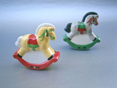 Vintage,Horse,Pony,Salt,Pepper,Shakers,Christmas,Condiment,Kitsch,Ceramic,Pottery,Clay,Red,Green,Yellow,Black,Mane,Equestrian,Equine,Festive,vintage horse salt pepper shakers, vintage pony salt pepper shakers, vintage rocking horse christmas salt pepper condiment shakers, vintage horse christmas pottery figurines, vintage pony christmas ceramic figurines, equestrian equine table centerpiece