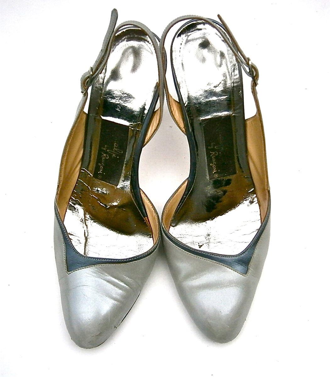 9455253aecdab Vintage Gray Ladies Shoes High Heels Pumps Slingback Women Size 5 ...