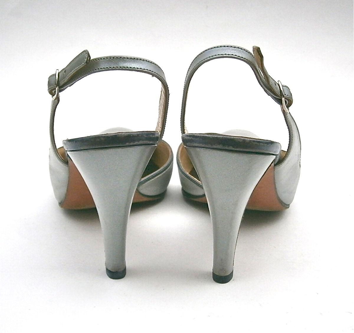 c21c21405da18 Vintage Gray Ladies Shoes High Heels Pumps Slingback Women Size 5 ...