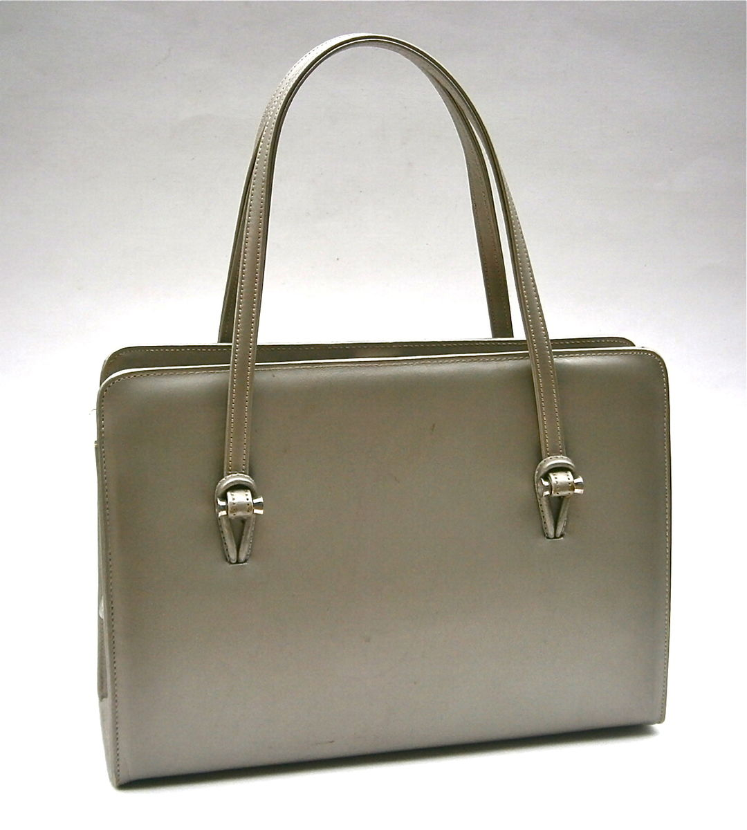 Vintage Silver Gray Handbag Mid Century Andrew Geller Leather Purse Structured Hard Case Compartment Mirror Bag Top Handle Minimalist Modern - product images  of