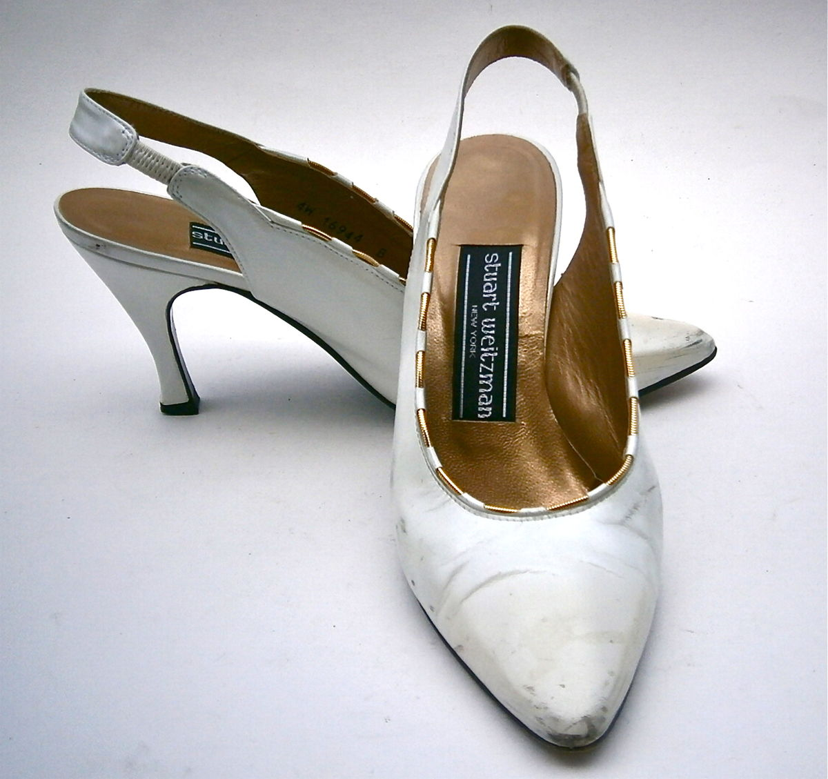 27ff49cf957 ... Vintage White Satin Ladies Shoes All Leather Flared High Heels Stuart  Weitzman Slingbacks Gold Trim Pumps ...