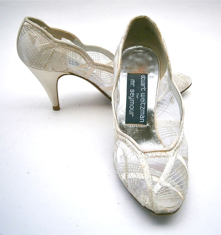 Vintage Ivory Ladies Shoes Size 4.5B Satin White Pumps High Heels Stuart Weitzman Embroidery Mesh See Through Mr Seymour Bride Bridal Women  - product images  of