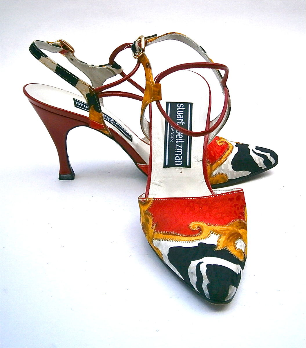 512d773915e74 Vintage Red Black Ladies Shoes Size 5M Flared High Heels Leather ...