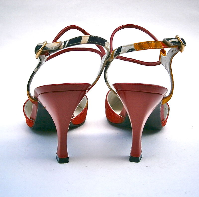 Vintage Red Black Ladies Shoes Size 5M Flared High Heels Leather Gold Silk Stuart Weitzman Designer Women Pump Slingback Double Ankle Strap - product images  of