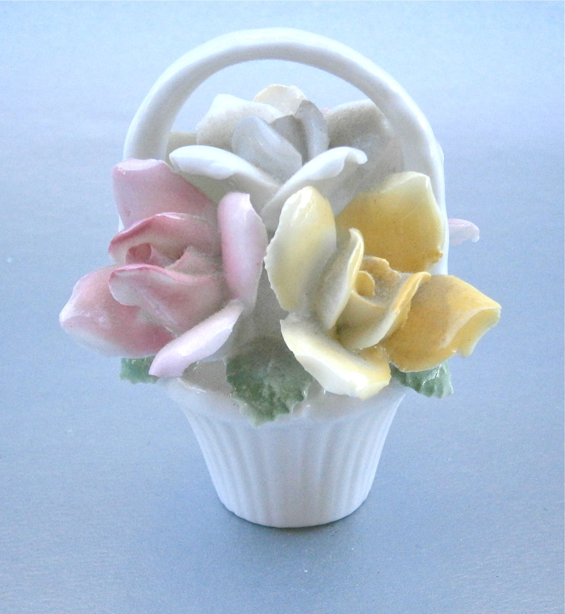 Vintage Pastel Floral Basket Glazed Ceramic Figurine Pink Yellow White Flowers Bouquet Basket Handle Shabby Cottage Chic Display Porcelain  - product images  of