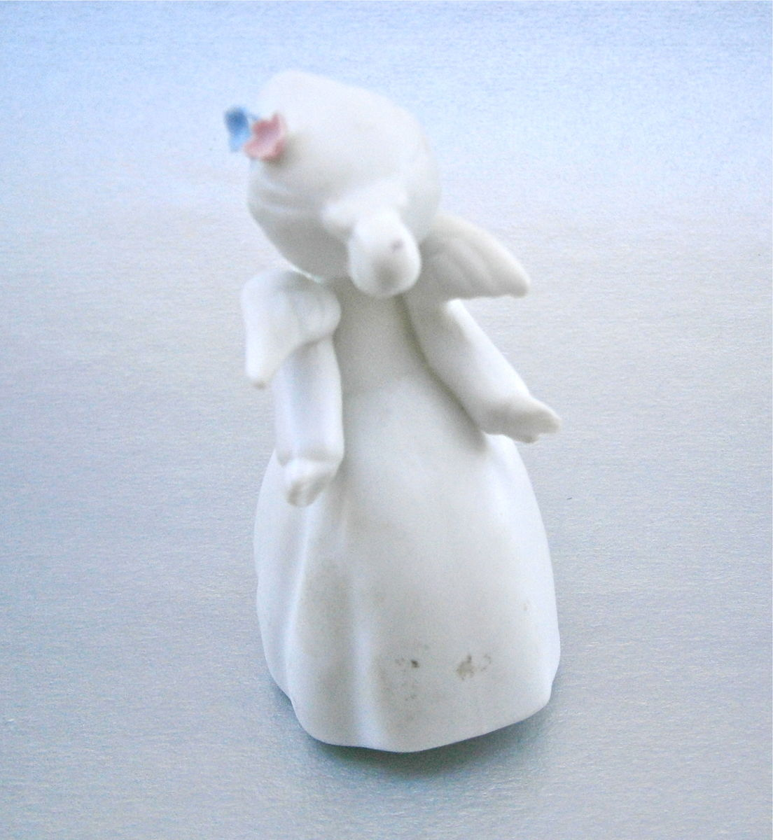 Vintage Little Girl Angel Figurine Angelic Wings Pastel Pink Blue Flowers Hair White Statue Gown Christening Birthday Remembrance Souvenir  - product images  of