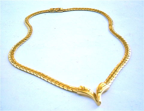 Vintage,Brazilian,Snake,Chain,Necklace,Faux,Gold,Tone,Flat,Link,Letter,V,Focal,Monogram,Emblem,24,Inch,Long,Costume,Jewelry,Shiny,Pendant,vintage brazilian snake chain link necklace, brazilian gold tone chain link necklace, brazilian flat chain faux gold necklace, snake gold flat chain necklace, gold chain link necklace, brazilian chain 24 inch necklace, letter v monogram pendant gold tone