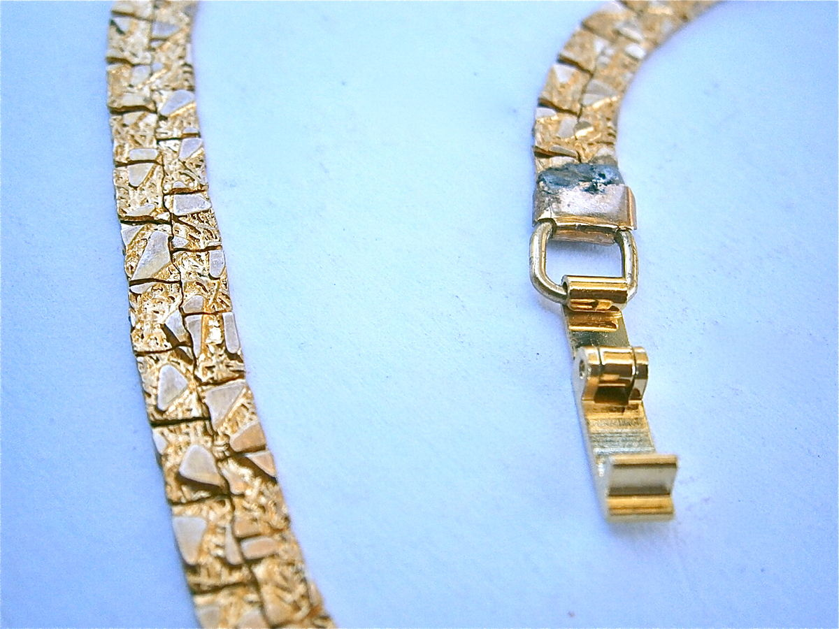 Vintage Nugget Necklace Gold Tone Textured Double Tracked 16 Inch Long Faux Yellow Costume Jewelry 6mm Wide Serpentine Villa Collezione - product images  of