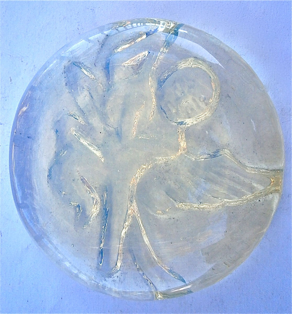 Vintage Angel Wings Round Opalite Glass Carved Opalised Glass Wings Cupid Moonstone Imitation Faux Christening Baptism Paperweight Relief - product images  of