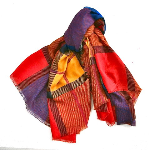 Vintage,Multicolored,Block,Scarf,Wrap,Shawl,Squares,Modern,Art,Raw,Edges,ColorFul,Stripes,Yellow,Red,Blue,Tartan,Plaid,Lines,Large,Oversize,vintage multicolored block square oversized wrap shawl, red blue yellow stripe large wrap, red blue yellow oversize scarf, vintage red shawl, vintage blue shawl, vintage yellow shawl, color oversized scarf, tartan plaid shawl wrap, modern art fringe scarf