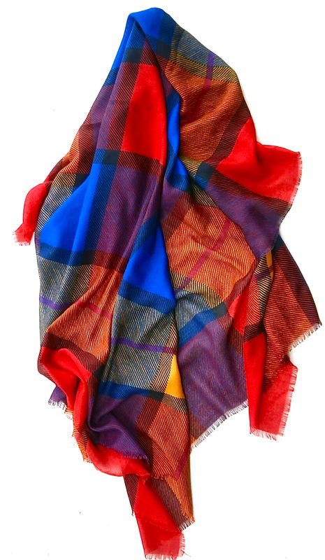 Vintage Multicolored Block Scarf Wrap Shawl Squares Modern Art Raw Edges ColorFul Stripes Yellow Red Blue Tartan Plaid Lines Large Oversize  - product images  of