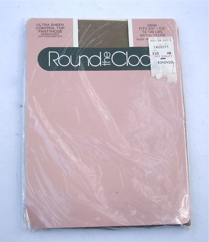 Vintage,Satin,Taupe,Demi,Pantyhose,Round,The,Clock,Ultra,Sheer,Control,Top,Nylon,Sandalfoot,5,Feet,Thru,3,Inches,Up,to,120,Lbs,U.S.A.,vintage round the clock satin taupe demi size pantyhose, satin taupe nylon stockings made in the usa, vintage taupe ultra sheer stockings, vintage satin taupe control top ultra sheer sandalfoot pantyhose, taupe demi size pantyhose, cotton crotch