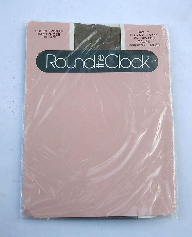 Vintage Taupe Pantyhose Nylons Size C Round The Clock Sheer Irregular 5 Feet Through 5 Feet 10 Inch 125 Pounds Thru 165 Lbs U.S.A - product images  of