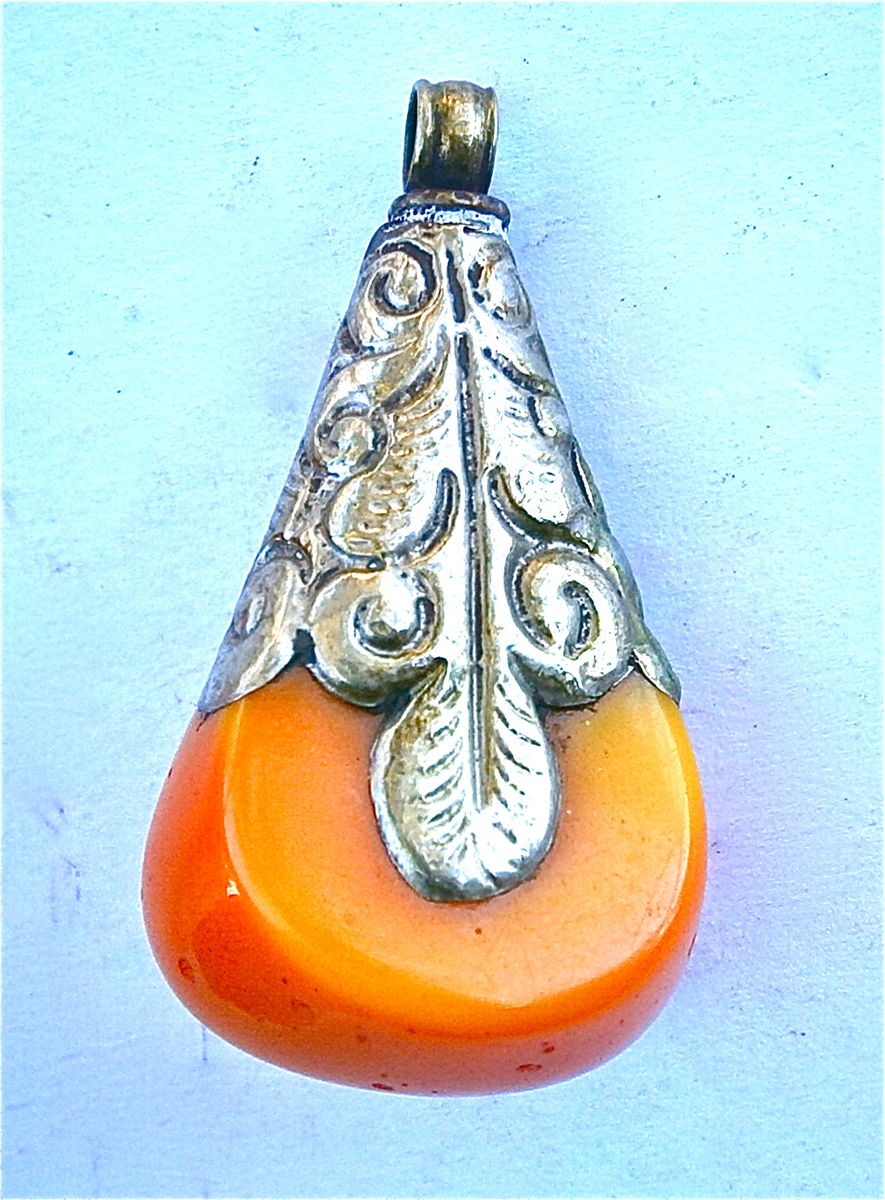Vintage Tibetan Orange Pendant Copal Silver Ethnic Tribal Exotic Necklace Amber Coral Textured Curlicue Artsy Ornate Decorative Ornamental - product images  of