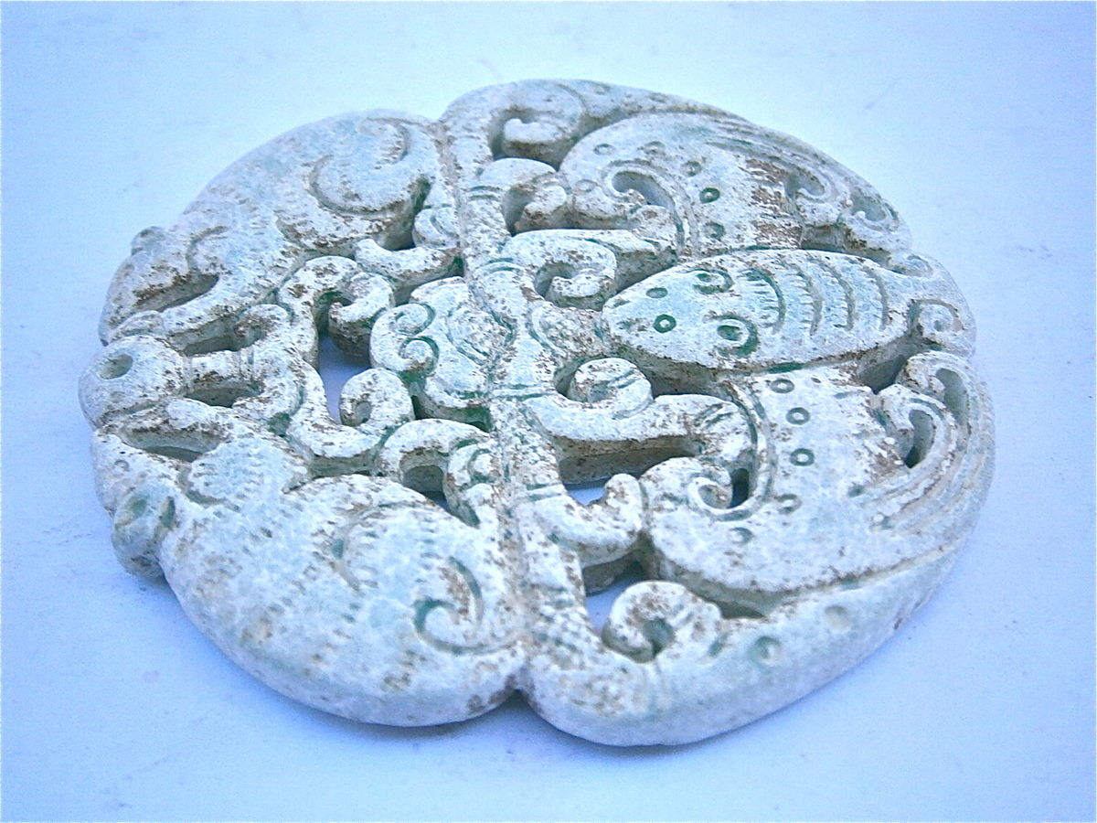 Vintage Buddha Vishnu Stone Carved White Chinese Asian Oriental Round Medallion Paperweight Collectible Collection Lace Deity Collectible  - product images  of