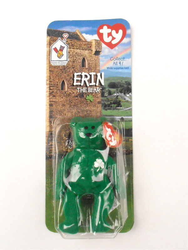 Vintage Erin Bear TY Beanie Babies Patriotic Emerald Green Shamrock Teddy Children Kids Plush Toys Stuffed Irish Three Leaf Clover Wellness - product images  of