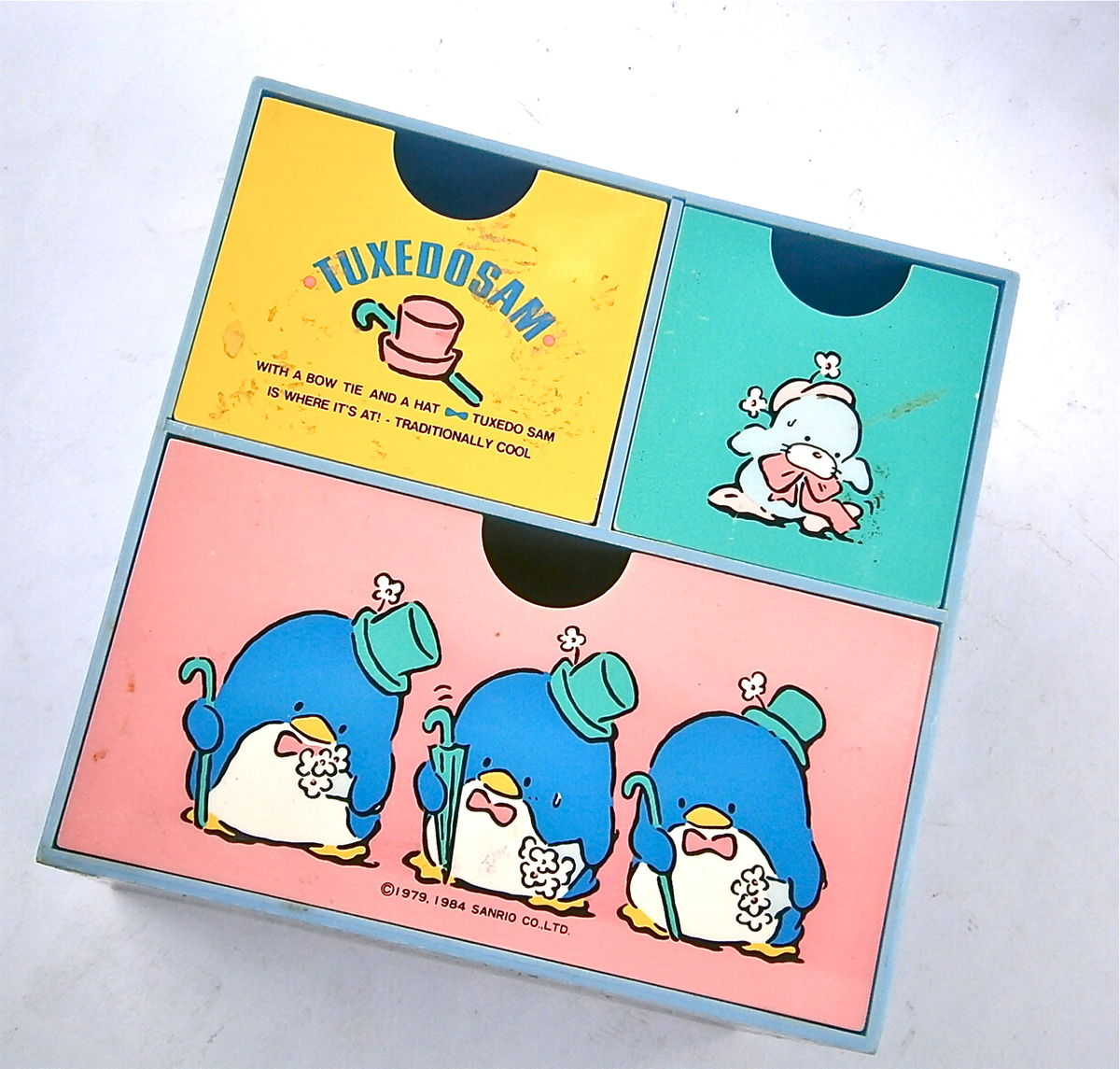 Vintage Sanrio Drawer Organizer Tuxedo Sam Blue Box Organizer Penguin Pastel Container Case Office School Supplies Kawaii Home Sweet Pole - product images  of