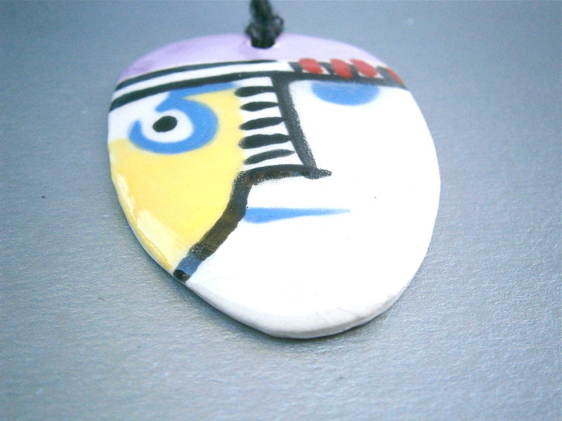 Vintage Op Art Abstract Pendant Ceramic Popart Necklace Black Cord Cubism Cubist Face Glazed Pottery Lieberg Yellow Blue Red Pink Retro - product images  of
