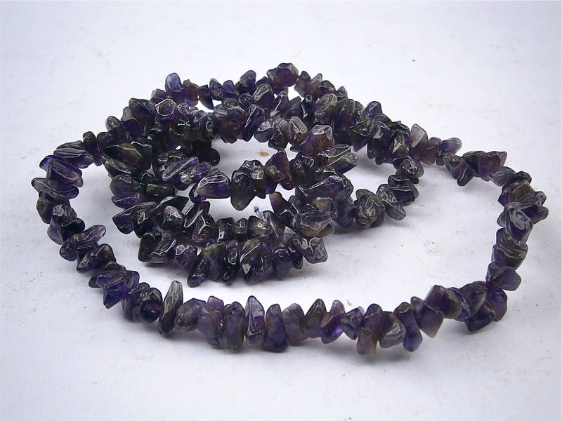 Vintage Amethyst Necklace Beads Chips 34 Inches Gemstones Genuine Polished Stones Necklace Supply Project Violet Purple Lavender 10 mm 4 mm - product images  of