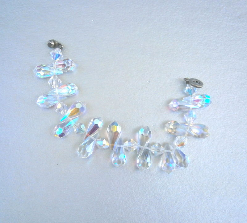 "Vintage Teardrop Crystal Bracelet 7"" Inch Aurora Borealis Swarovski Elements Rainbow Art Deco Faceted Nouveau Iridescent Rainbow Brilliant - product images  of"
