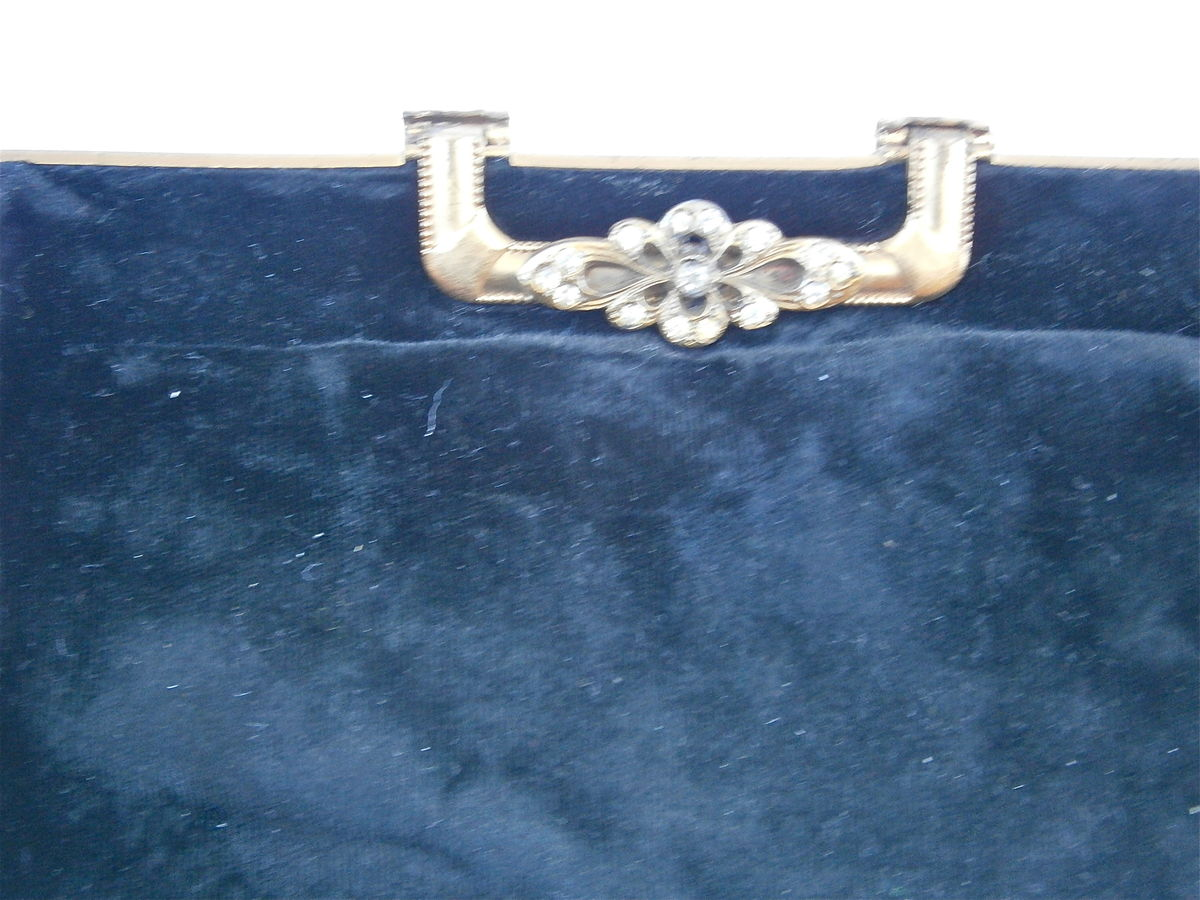 Vintage Black Velvet Evening Purse Formal Clutch Bag Fancy Rhinestone Lock Compact Handheld Ornate Lock Plush Fabric Textile Hollywood Props - product images  of