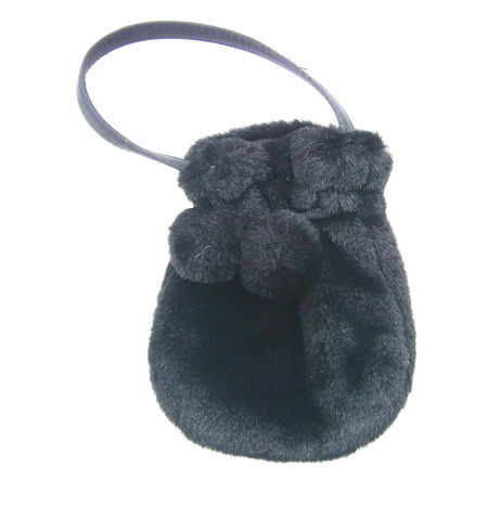 Vintage,Black,Pom,Drawstring,Handbag,Formal,Cosplay,Costume,Faux,Fur,Hairy,Compact,Wristlet,Pouch,Prom,Small,Evening,Purse,Wallet,vintage black faux fur pom pom hand bag, fur black drawstring compact bag, black pom pom bag, hairy cosplay black fur bag, black pompom wristlet, black furry pompom drawstring handbag, black fur wallet, faux black fur wristlet, black fur top handle handba