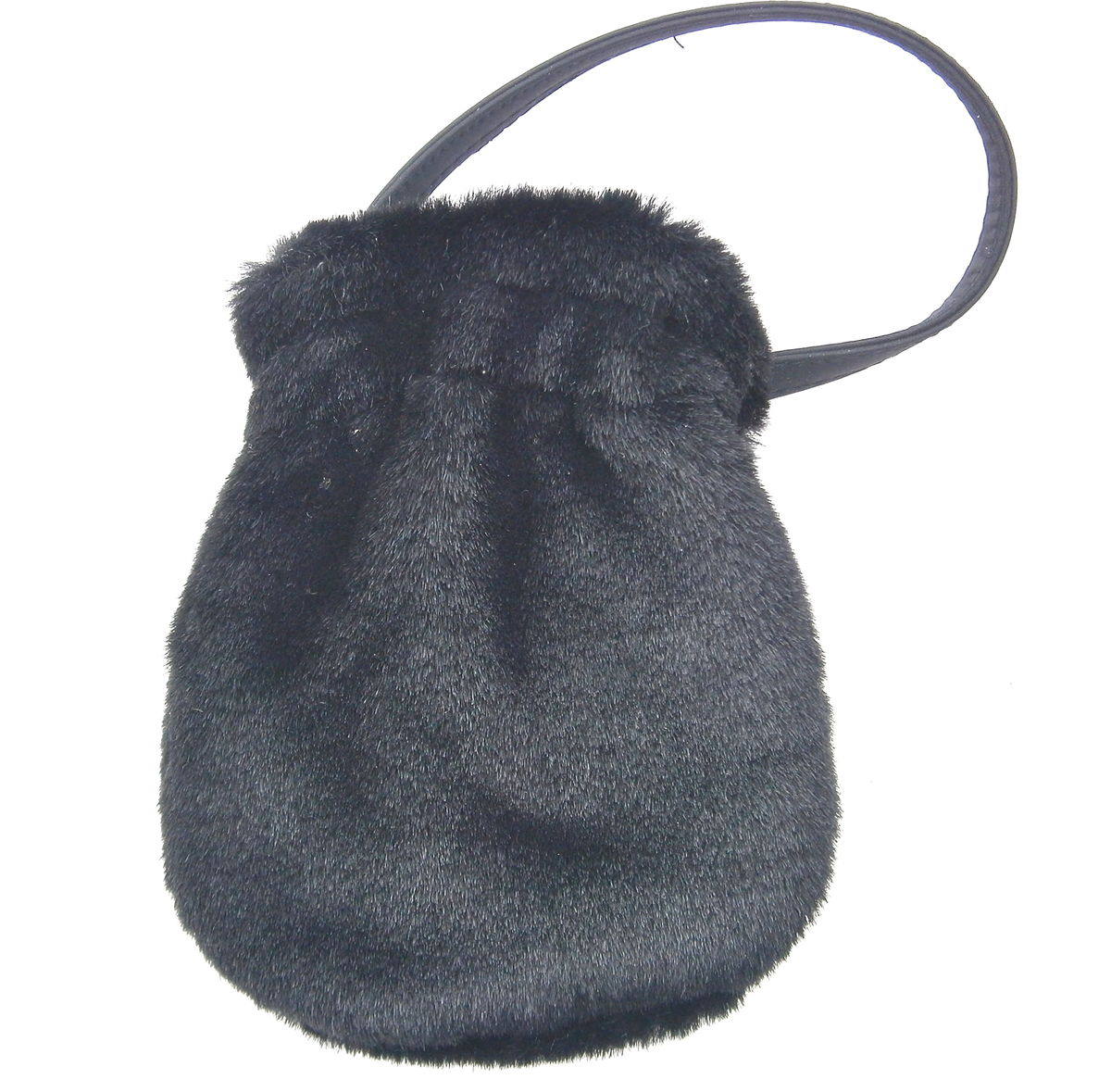Vintage Black Pom Pom Drawstring Handbag Formal Cosplay Costume Faux Fur Hairy Compact Wristlet Pouch Prom Small Formal Evening Purse Wallet - product images  of