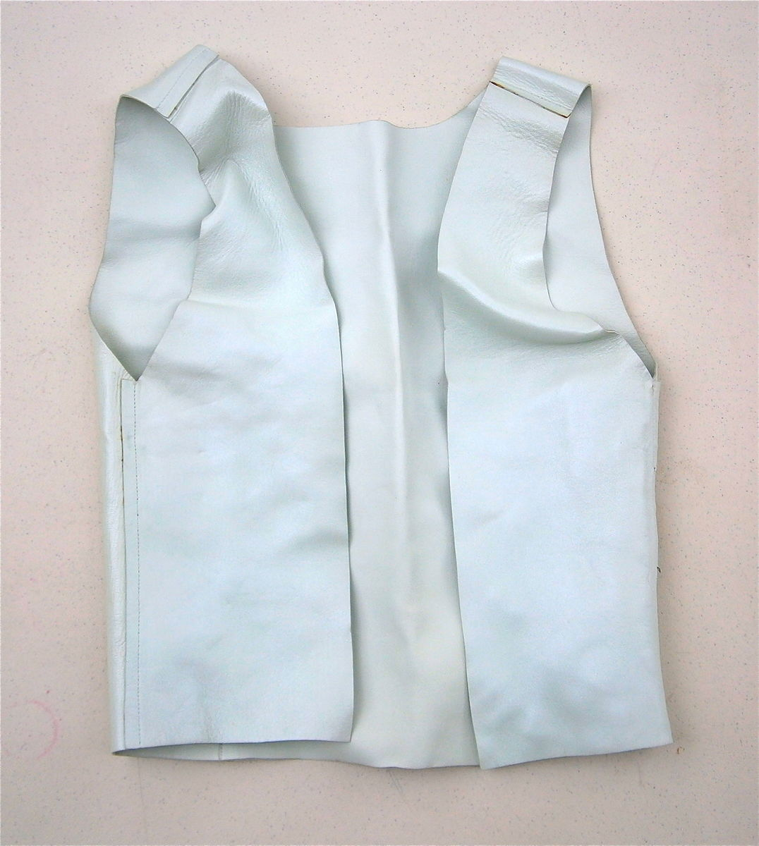 Vintage Light Mint Green Vest Leather Outerwear Bolero Chaleco Waist Coat Boho Hippie Hipster Plain Raw Edge Sleeveless Jacket Small Medium - product images  of