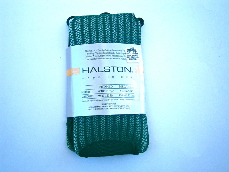 Vintage Green Footed Tights Halston Hunter Textured Knit Medium Tall Slightly Imperfect 5 Ft 3 Inch to 5 Feet 8 Inches 120 Pounds To 150 Lbs - product images  of