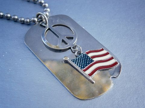 Peace,Sign,Pendant,Dog,Tag,American,Flag,USA,Necklace,Military,Silver,Metal,Ball,Chain,Patriotic,Veteran,metal peace sign, american flag id necklace, us flag peace sign  military id tag necklace, military id tag necklace pendant, metal ball chain necklace, peace sign necklace, silver metal military id dog tag necklace, marine necklace, soldier tag necklace,