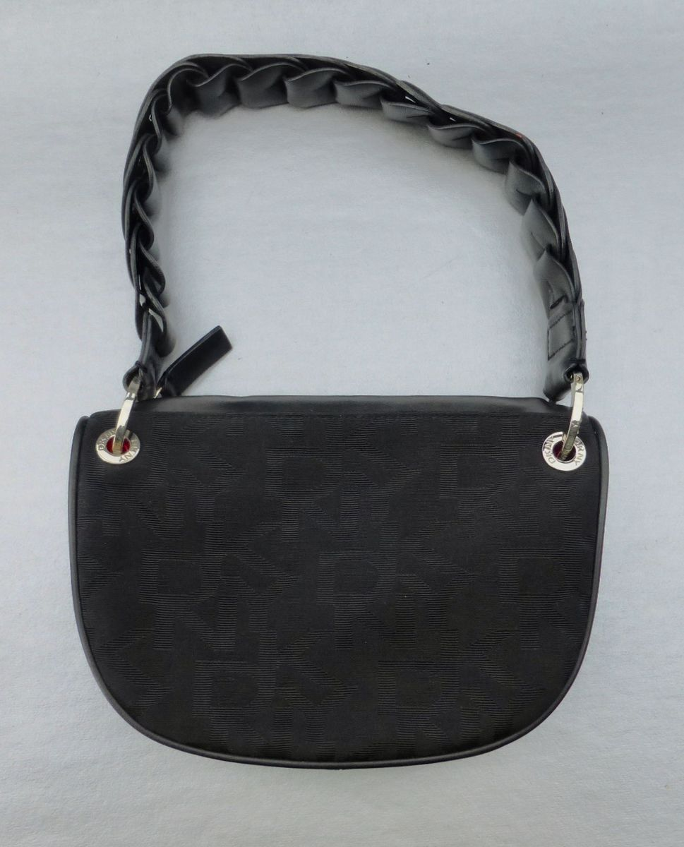 DKNY Black Shoulder Handbag Shoulder Bag Rare Handle Faux Leather Zipper Designer Donna Karan New York - product images  of