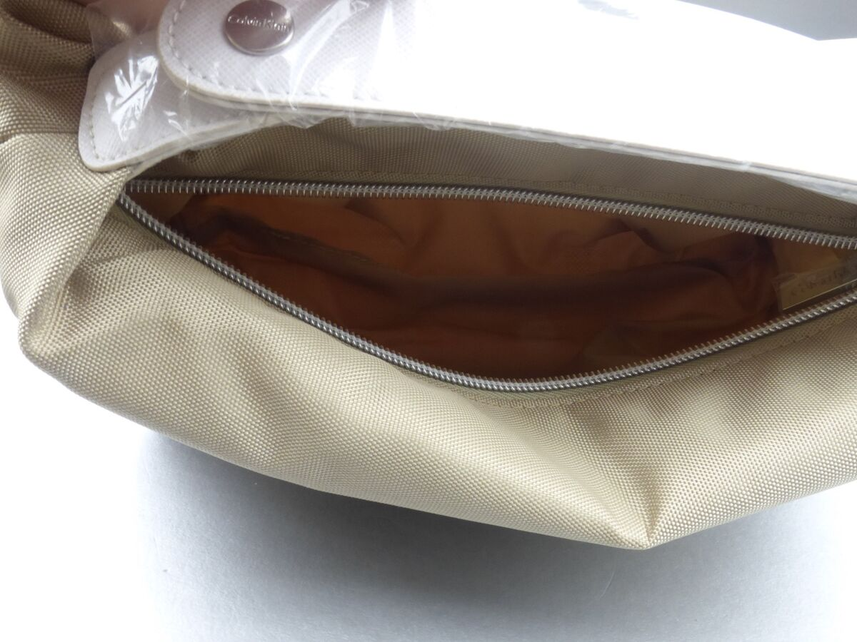 Calvin Klein Bag Toiletries Travel Pouch Makeup Cosmetic Bag Light Vanilla Rare Soft Sided Purse - product images  of