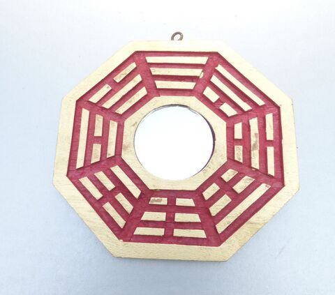 Chinese,Bagua,Feng,Shui,Good,Luck,Mirror,Red,Gold,Octagon,Eight,Sides,Lucky,Positive,Energy,6,inches,Decoration,Ba,Gua,real mirror feng shui bagua, chinese feng shui ba gua home decor, feng shui bagua octagon mirror, chinese feng shui octagon mirror, feng shui 6 inches mirror, asian chinese oriental feng shui accessories, eight sided gold red mirror feng shui, chinese goo