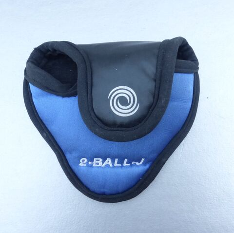 Odyssey,2,-,Ball,Dot,J,Putter,RH,Head,Cover,Mallet,Padded,Blue,Black,Original,Callaway,Brand,odyssey 2 ball dot putter mallet head cover right hand, right hand callaway original putter head cover, blue black odyssey putter mallet head cover,  preowned putter cover, blue black mallet putter cover