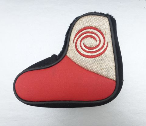 Odyssey,Blade,Putter,Head,Cover,Red,&,Black,Original,Callaway,Brand,Logo,Icon,odyssey white hot putter head cover, original callaway putter sock head cover, red black odyssey putter head cover,  preowned hallway putter cover, red black putter sock cover, swirl logo icon golf callaway brand