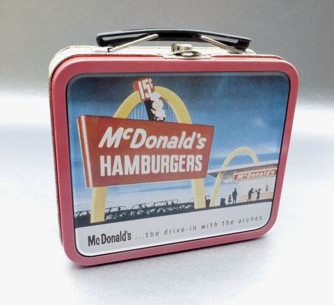 Vintage,90s,McDonald's,Hamburger,Metal,Lunch,Box,Tin,Pail,Burger,Joint,Retro,Collection,Collectible,Golden,Arches,Restaurant,Speedee,Fast,Food,Sandwich,mcdonalds memorabilia, vintage mcdonalds hamburger lunch box, golden arches metal lunch box, speedee lunch box, ronald mcdonald metal lunch box, burger lunch pail, mcdonalds restaurant metal lunch box, golden arches, mcdonalds speedee tin lunch pail, mcdo