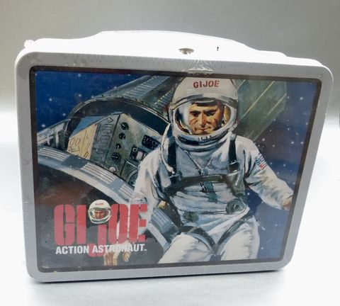 Vintage,90s,GI,Joe,Action,Astronaut,Lunch,Box,Sealed,Collectible,Tin,Can,Hasbro,Metal,Pail,Series,2,Collection,Case,Container,Storage,gi joe action astronaut lunch box, collectible gi joe metal lunch box, hasbro collection lunch box, gi joe astronaut memorabilia, hasbro memorabilia, vintage astronaut collectible tin box, hero lunch box, kids boy girl lunch box, gi joe astronaut rectangu